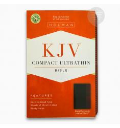 KJV COMPACT ULTRATHIN BIBLE, BLACK/BURGUNDY, (LS)